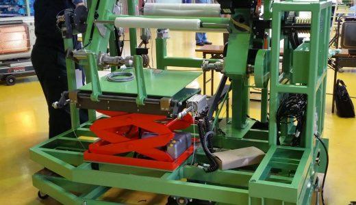 全自動 Lib(リチウムイオン電池)電極材巻取機(アキュームレス)自動切断・自動巻き付け・自動芯管セット・自動製品排出